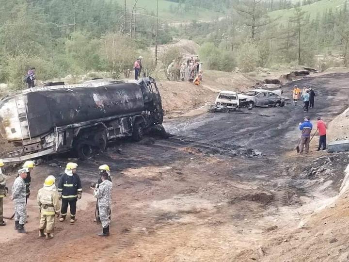 Ноцтой зам тээврийн осол гарч 2 хүний амь нас хохирч, 8 хүн түлэгдсэн байна