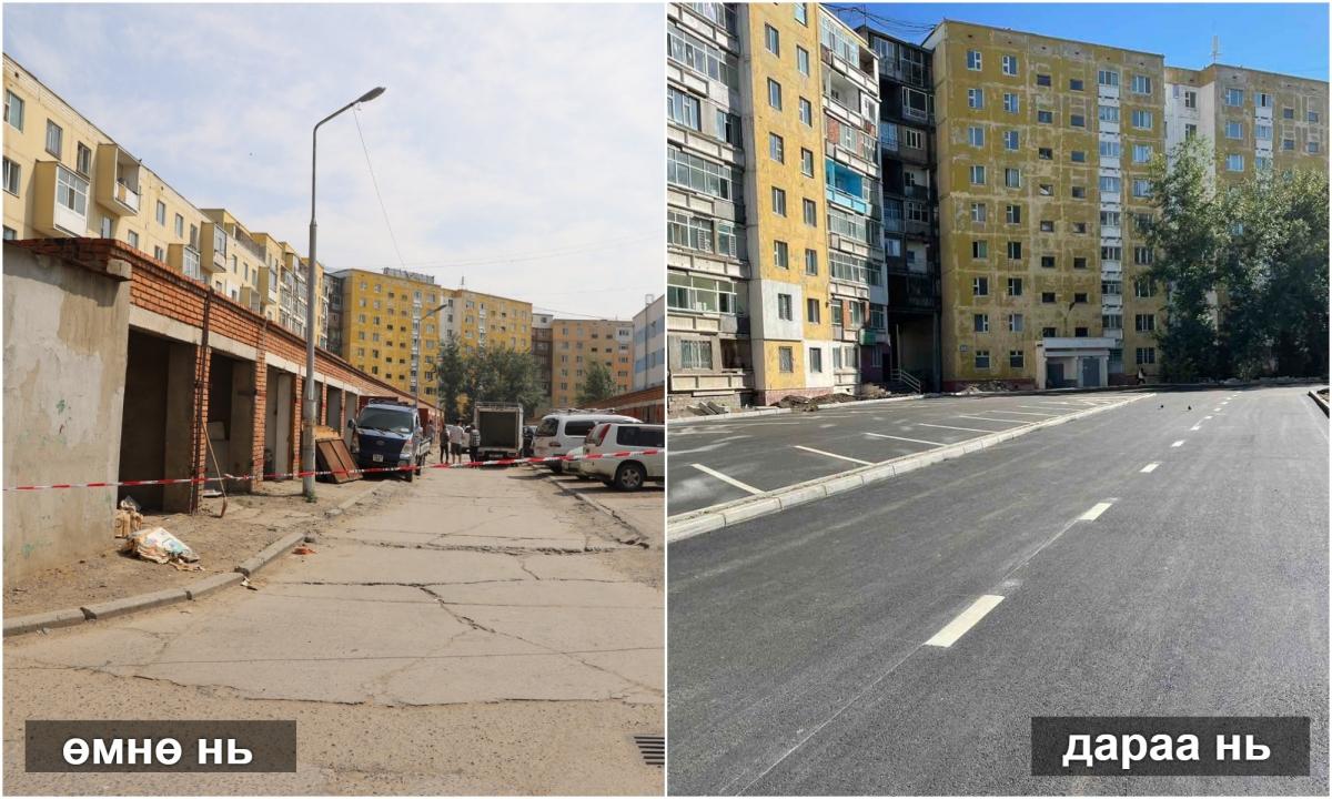 Арктай шар байрны урд хоёр эгнээ авто зам, явган хүний зам, ил авто зогсоолын хучилтын ажлыг хийж дууслаа