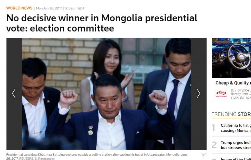 Reuters: Нэр дэвшигчдийн хэн ч ялалт байгуулж чадсангүй