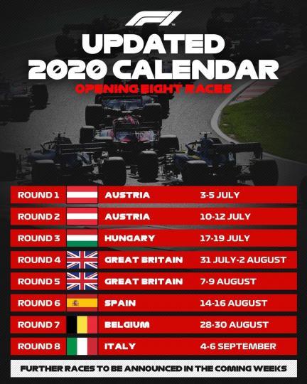 Формула-1 уралдааны эхний найман тэмцээн болох өдөр зарлагдлаа