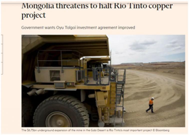 """""""Рио Тинто"""" компани """"Оюу толгойн"""" хөрөнгө оруулалтын гэрээг цуцлахаа мэдэгдлээ"""